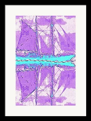 Boats In Reflecting Water Digital Art Framed Prints