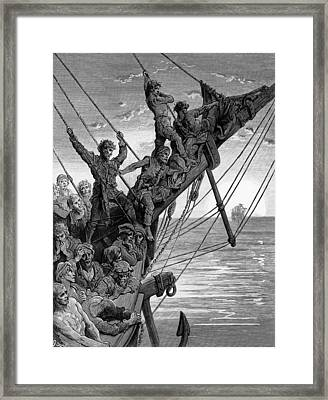The Sailors See In The Distance A Ghostly Ship Framed Print by Gustave Dore