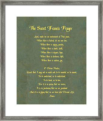 The Saint Francis Prayer In Gold Lettering On Green Leather. Framed Print
