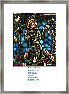 The Saint Francis Prayer With An Image Of St Francis In Stained Glass Framed Print