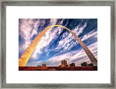 The Saint Louis Arch And Skyline Framed Print by Gregory Ballos