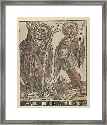 The Saints Christopher And Sebastian Framed Print