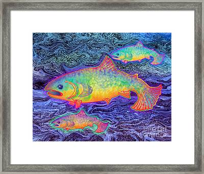Framed Print featuring the mixed media The Salmon King by Teresa Ascone