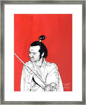Framed Print featuring the mixed media The Samurai On Red by Jason Tricktop Matthews