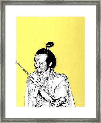 Framed Print featuring the mixed media The Samurai On Yellow by Jason Tricktop Matthews