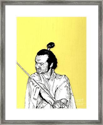 The Samurai On Yellow Framed Print