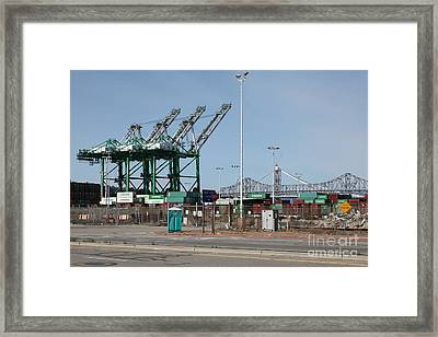 The San Francisco Oakland Bay Bridge Through The Port Of Oakland 5d22250 Framed Print by Wingsdomain Art and Photography