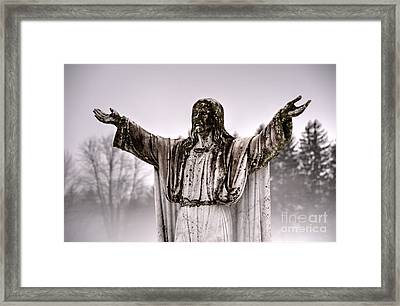 The Savior In The Fog Framed Print by Jeffrey Miklush