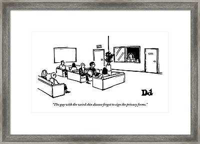The Scene Is A Doctor's Waiting Room. People Framed Print