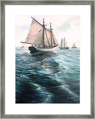The Schooners Framed Print by Eileen Patten Oliver