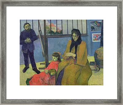 The Schuffenecker Family, Or Schuffeneckers Studio, 1889 Oil On Canvas Framed Print by Paul Gauguin
