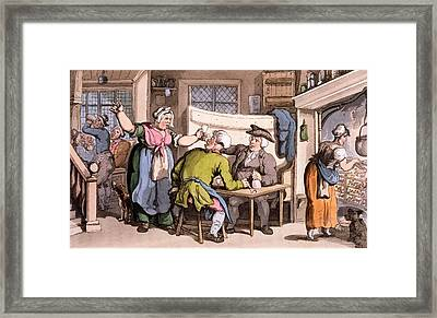 The Scold, With News Of Olivia Framed Print by Thomas Rowlandson