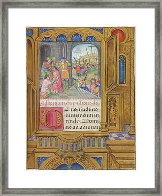 The Scourging Of Christ Framed Print by British Library