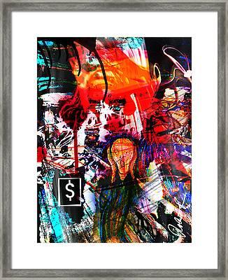 The Scream Flat Broke 2012 - Huge Signed Art Abstract Paintings Modern Www.splashyartist.com Framed Print