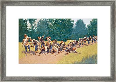 The Scream Of Shrapnel At San Juan Hill Framed Print by Frederic Remington