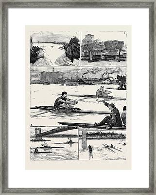 The Sculling Match On The Tyne Between Hanlan And Boyd Framed Print by English School