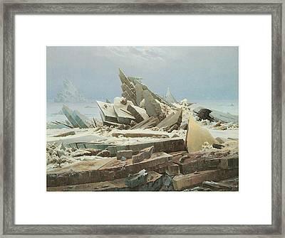 The Sea Of Ice Framed Print by Caspar David Friedrich