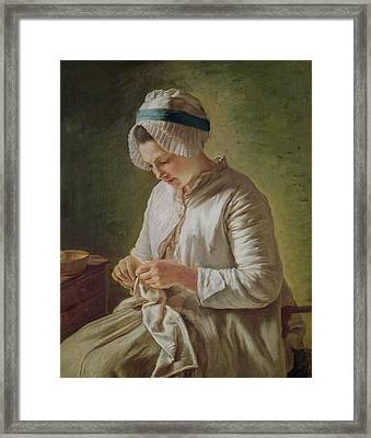 The Seamstress Or Young Woman Working Framed Print by Francoise Duparc