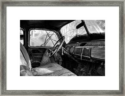 The Seat Of An Old Truck In Black And White Framed Print