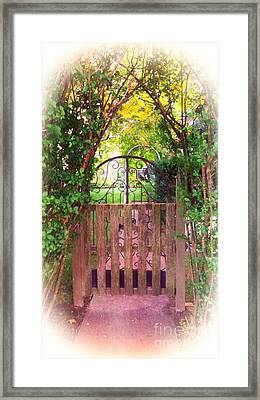 The Secret Gardens Gate Framed Print by Becky Lupe