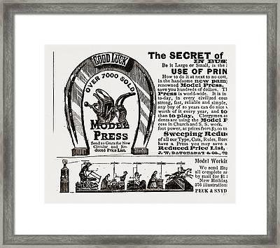 The Secret Of Good Luck, 1880, 19th Century Engraving Framed Print