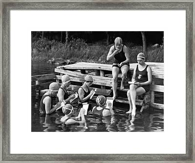 The Secretary Pool At Camp Framed Print