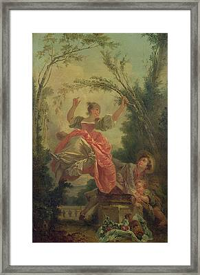The See-saw Oil On Canvas Framed Print by Jean-Honore Fragonard