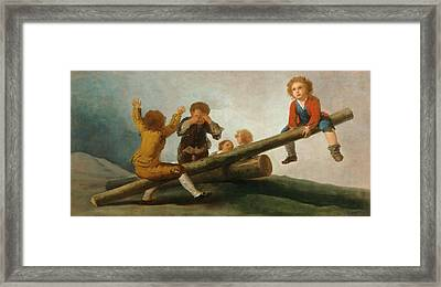 The Seesaw Framed Print by Francisco Jose de Goya y Lucientes