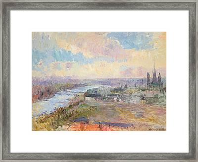 The Seine At Rouen Framed Print by Albert Charles Lebourg