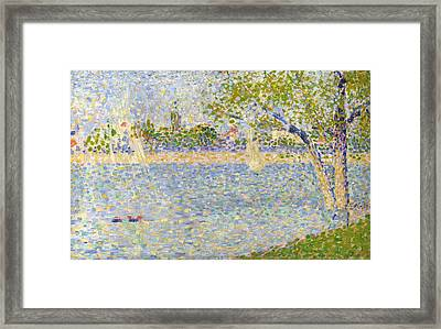 The Seine Seen From La Grande Jatte Framed Print by Georges Seurat