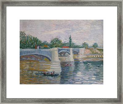 The Seine With The Pont De La Grande Jatte Framed Print