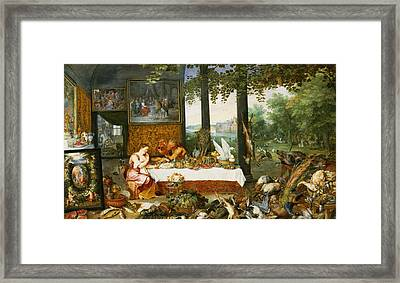 The Sense Of Taste, 1618 Oil On Panel Framed Print by Jan Brueghel
