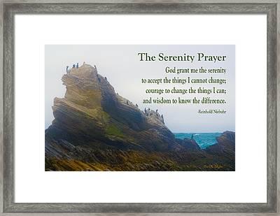 The Serenity Prayer Bird Rock Framed Print by Barbara Snyder