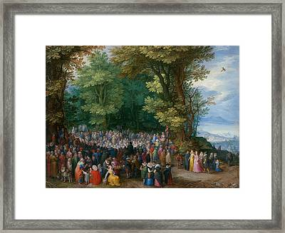 The Sermon On The Mount Framed Print by Jan Brueghel the Elder