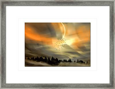 The Setting Sun Over The Rising Mist Framed Print by Tyler Robbins