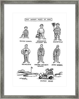 The Seven Ages Of Man Framed Print by Henry Martin