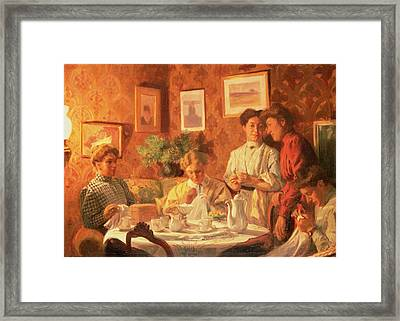 The Sewing Group, 1909 Oil On Canvas Framed Print by Nils Larson