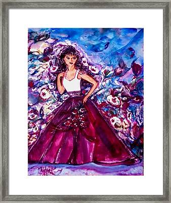 Framed Print featuring the painting The Shadow Of Her Smile by Helena Bebirian