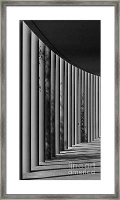 The Shadows And Pillars  Black And White Framed Print