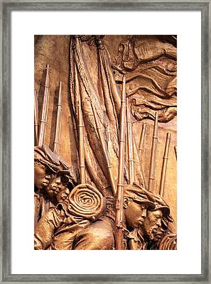 Saint Gaudens -- The Shaw Memorial's Left Side Framed Print by Cora Wandel