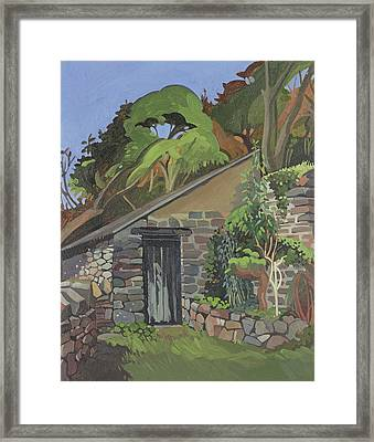 The Shed, Clovelly Oil On Board Framed Print by Anna Teasdale