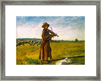 Framed Print featuring the painting The Shepherd by Henryk Gorecki