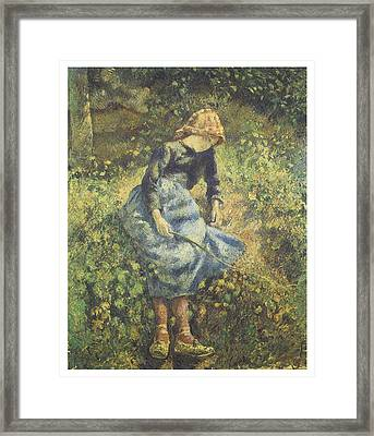The Shepherdess Framed Print by Camille Pissarro