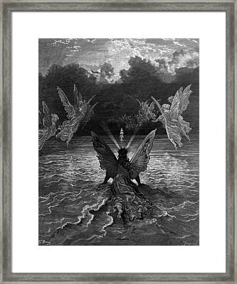 The Ship Continues To Sail Miraculously Moved By A Troupe Of Angelic Spirits Framed Print by Gustave Dore