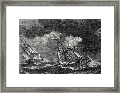 The Ship Of Captain Cook Is Spared Thanks To His Lightning Framed Print by English School