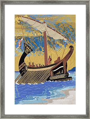 The Ship Of Odysseus Framed Print by Francois-Louis Schmied