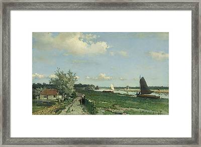 The Shipping Canal At Rijswijk  The View At Geestbrug Framed Print by Johann Hendrik Weissenbruch - L Brown