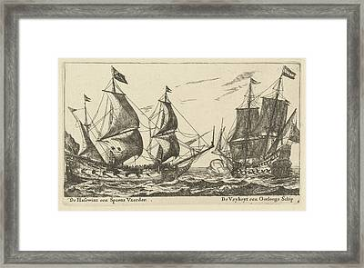 The Ships Freedom And The Greyhound, Anonymous Framed Print