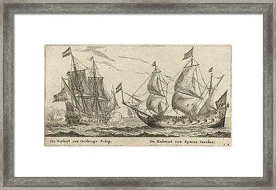 The Ships Freedom And The Greyhound, Print Maker Reinier Framed Print