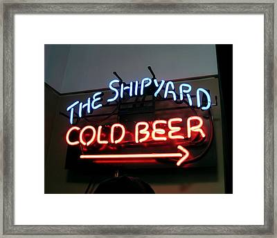 The Shipyard Cold Beer Neon Sign Framed Print by Patricia E Sundik